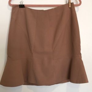 Tan skirt with ruffle hem
